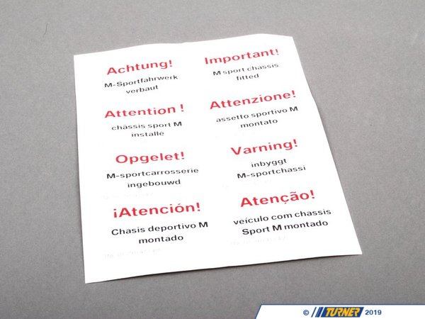 T#26077 - 01290413405 - Genuine BMW Stickers M Sports Suspension - 01290413405 - Genuine BMW -
