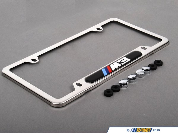 T#1112 - 82120010401 - M3 License Plate Frame Silver Polished - Genuine BMW -