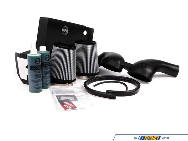 "T#1932 - 51-11472 - aFe Magnum FORCE Stage-2 Pro DRY S Cold Air Intake System - E82 135i 1M, E9X 335i/xi, E60 535i/xi - ""Oil-Free"" ProDry S FilterIncrease horse power and torque in your twin-turbo charged BMW 135i, 335i, 335xi, 535i or 535xi with this twin-filter element aFe cold air intake system. aFe has reported gains of 27hp and 34 ft/lbs of torque with this kit, which increases airflow 98% over the stock airbox. Installs in under an hour!The aFe Intake system is one of the easiest and most effective ways to increase your BMW's performance. The kit includes all parts and installation instructions to replace the restrictive factory air box with a low-restriction, high-flow filtering system. The kit includes a one-piece precision molded twin intake tube, 16 gauge powder coated steel heat shield, and gasket -- all assisting in blocking out hot engine air for cooler, denser air mass.This aFe Intake Kit fits the following BMWs:2007-2010 E90 3 Series Sedan - BMW 335i & 335xi2007-2010 E92 3 Series Coupe - BMW 335i & 335xi2010+ E92 3 Series Coupe - BMW 335is2008-2010 E82 1 Series Coupe - BMW 135i2011+ E82 1 Series Coupe - BMW 1M Coupe2008-2010 E88 1 Series Convertible - BMW 135i2007-2010 E60 5 Series - BMW 535i & 535xi - AFE - BMW"