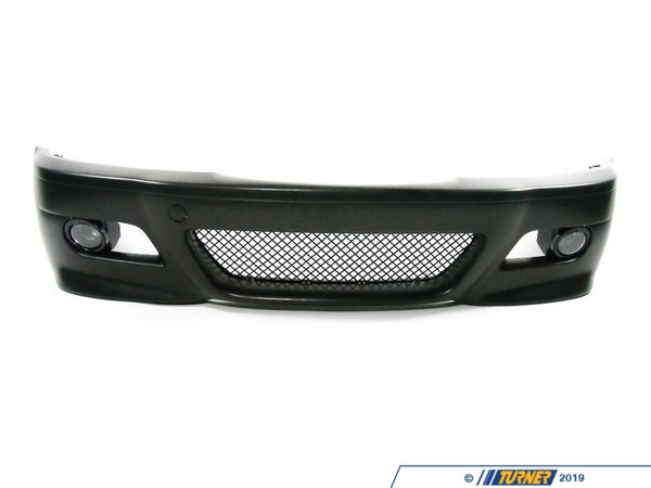 T#5518 - M3E46FTBUMP - E46 M3 Style Front Bumper with Fog Lights - E46 325i/ci/xi 330i/ci/xi - This is a high-quality replica of the original E46 M3 front bumper spoiler which has been adapted to fit the non-M E46 3 series. This makes a great visual upgrade over a stock bumper, especially on a sedan where you can get that M3 4-door look! This bumper is molded off of the original M3 bumper for an accurate representation of the M3 but sized to fit to a car with the non-M fenders. It's a great low-cost upgrade alternative to any factory replacement spoiler if yours needs replacement.This kit includes the M3-style bumper cover, left and right fog lights, fog light trim rings, and the mesh center grill. Unless you have a M Sport or ZHP bumper, the brake ducts, wheel well liners, and undertrays will need to be sourced separately. Facelift models require the early-style outboard hanger brackets (part numbers 51118195295 and 51118195296). You can add them to your order from the options below or purchase them from your local BMW dealer. Facelift models are: any 2002-2006 sedan and any 2004-2006 coupe/convertible.This item fits the following BMWs:1999-2006  E46 BMW 323i 323ci 325i 325ci 325xi 328i 328ci 330i 330ci 330xi - ECS - BMW