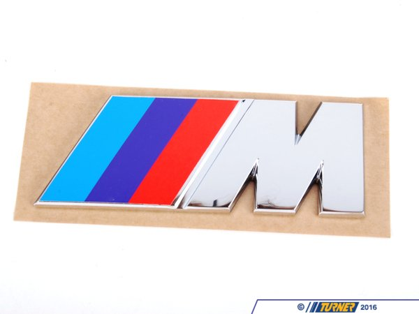 T#3408 - 51142250811 - Motorsport M Rear Emblem - Sometimes they get stolen from your M car, sometimes they fade, sometimes people buy them for their 528e! This is the flat ///M badge, as used on the E30 M3, E28 M5, E24 M6, E34 M5, and E36 M3. An original BMW part. This emblem has an adhesive backing, will not fit on front. - Genuine BMW - BMW