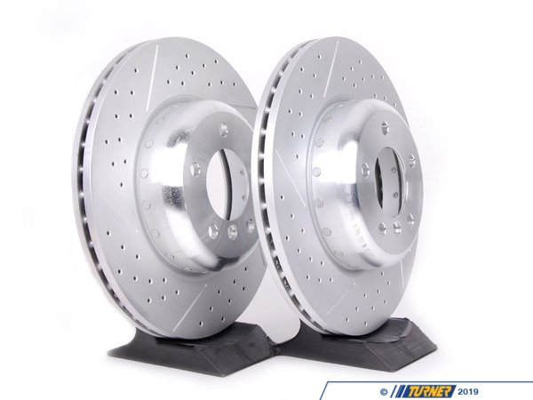 Genuine BMW Genuine BMW Cross-Drilled & Slotted Brake Rotors - Front - E82 135i 34116786392