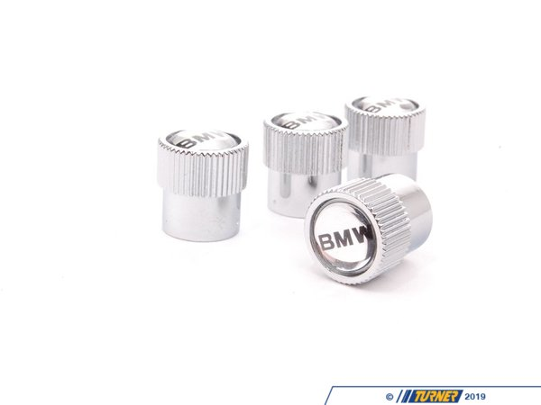 T#52 - 36110421542 - Valve Stem Caps - BMW Text Logo (Set of 4) - Genuine BMW - BMW