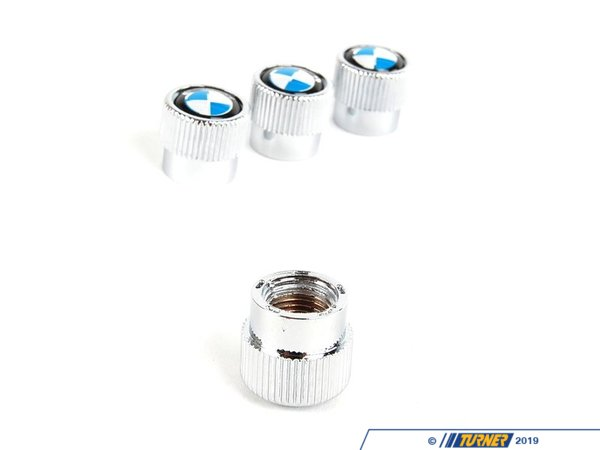 Genuine BMW Valve Stem Caps - BMW Roundel Logo (Set of 4) 36110421544