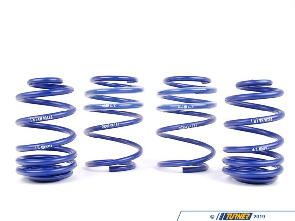 "T#4111 - 50414 - H&R Sport Spring Set - E46 M3 -   The installation of an H&R Sport Spring Set dramatically improved the looks and handling characteristics of our M3.  A progressive spring rate means these still offer a very compliant ride, but without nearly as much slop compared to stock. Installation is straight forward.Sport spring set will drop the car -1.2"" Front and  -0.5Rear"". This spring set can be used with the stock shocks or aftermarket performance shocks. We also have a kit that features an adjustable rear spring perch that may be a benefit if you would like to control the height in the rear. With the optional kit below, you can raise or lower the car as needed (and the price is not much more) . Clickhere for more info.This item fits the following BMWs:2001-2006  E46 BMW M3 - H&R - BMW"