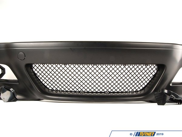 T#5518 - M3E46FTBUMP - E46 M3 Style Front Bumper with Fog Lights - This is a high-quality replica of the original E46 M3 front bumper spoiler which has been adapted to fit the non-M E46 3 series. This makes a great visual upgrade over a stock bumper, especially on a sedan where you can get that M3 4-door look! This bumper is molded off of the original M3 bumper for an accurate representation of the M3 but sized to fit to a car with the non-M fenders. It's a great low-cost upgrade alternative to any factory replacement spoiler if yours needs replacement.This kit includes the M3-style bumper cover, left and right fog lights, fog light trim rings, and the mesh center grill. Unless you have a M Sport or ZHP bumper, the brake ducts, wheel well liners, and undertrays will need to be sourced separately. Facelift models require the early-style outboard hanger brackets (part numbers 51118195295 and 51118195296). You can add them to your order from the options below or purchase them from your local BMW dealer. Facelift models are: any 2002-2006 sedan and any 2004-2006 coupe/convertible.This item fits the following BMWs:1999-2006  E46 BMW 323i 323ci 325i 325ci 325xi 328i 328ci 330i 330ci 330xi - ECS -