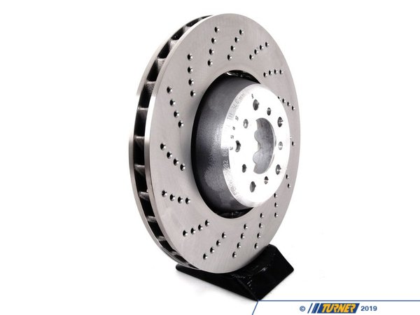 T#2185 - 34112282805 -  Front Brake Rotor - Left - E60 M5 / E63 M6 (Floating) - This is one LEFT FRONT brake disc for the 2006+ E60 M5 and E63 M6 V10 (also fits E64 M6 convertible). This is the stock floating style rotor, as the car equipped with from the factory. This is just one left front rotor, so be sure to purchase the other side if you are doing a full brake job. This LEFT FRONT brake rotor fits:2006-2010 E60 M5 sedan2006-2010 E63 M6 coupe2006-2010 E64 M6 convertible / cabrio - Genuine BMW -