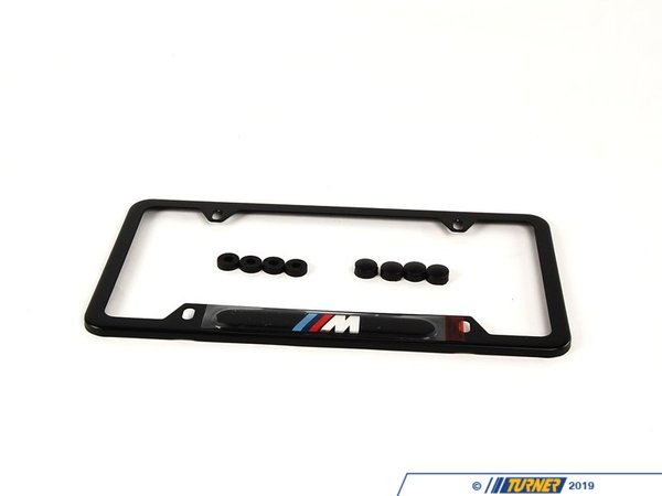 T#1168 - 82120010404 - License Plate frame Black w/ M logo - Genuine BMW - BMW