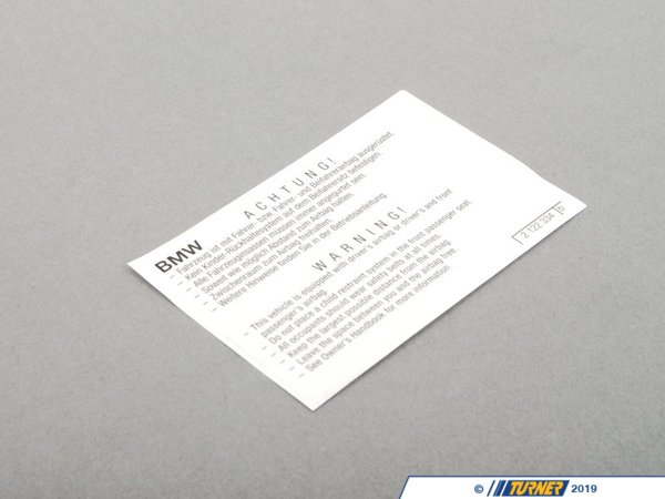 T#156674 - 71212122334 - Genuine BMW Instruction Notice, Airbag - 71212122334 - Genuine BMW -