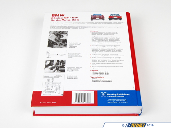T#3783 - B390 - Bentley Service & Repair Manual - E30 BMW 3-series (1984-1991) - The Bentley Manual is the only comprehensive, single source of service information and specifications available for your BMW.  Whether you're a professional technician or a  do-it-yourself BMW owner, the manual will help you understand, maintain, and repair every system on your BMW.Models not covered in entirety (some sections still apply):1987-1991 E30 325iX AWD1990-1991 E30 318is1987-1992 E30 M3 - Bentley - BMW
