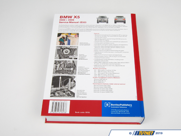 T#1578 - BX56 - Bentley Service & Repair Manual - E53 X5 BMW   (2000-2006) - The most comprehensive service manual available for your 2000-2006 X5 sport activity vehicle (SAV) there is. 1240 page and over 2100 photos, illustrations and diagrams. Covers all model E53 chassis X5 including 2000, 2001, 2002, 2003, 2004, 2005 & 2006 X5 3.0, 4.4i, 4.6is and 4.8is. Models and engines:3.0i M54 engine, 6-cylinder 3.0 liter4.4i M62 TU engine, V8 4.4 liter4.4i N62 engine, V8 4.4 liter (Valvetronic) 4.6is M62 TU engine, V8 4.6 liter4.8is N62 engine, V8 4.8 liter (Valvetronic)Engine management systems (Motronic): Siemens DME MS 43 Bosch DME ME 7.2 Bosch DME 9.2.1 Transmissions (remove, install, external service):Manual 5-speed S5D 280ZManual 6-speed GS6-37BZAutomatic 5-speed A5S 390RAutomatic 5-speed A5S 440ZAutomatic 6-speed GA6HP26Z - Bentley - BMW