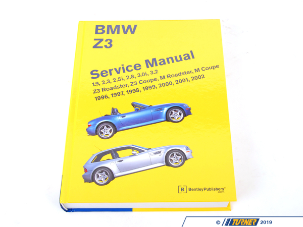 T#298 - BZ02 - Bentley Service & Repair Manual - Z3 Roadster/Coupe (1996-2002) - The Bentley Manual is a comprehensive source of service information andspecifications for all models of the Z3 from 1996 to 2002, including the1.9-liter 4-cylinder and 3.2-liter S54 6-cylinder engine.. The aim throughoutthis manual has been simplicity, clarity and completeness, with practicalexplanations, step-by-step procedures and accurate specifications. Whetheryou're a professional or a do-it-yourself BMW owner, this manual will help youunderstand, care for and repair your Z3 Roadster/Coupe. Maintenance and serviceinformation is detailed and up-to-date with exploded diagrams and pictures.Though the do-it-yourself BMW owner will find this manual indispensable as asource of detailed maintenance and repair information, the BMW owner who has nointention of working on his or her car will find that reading and owning thismanual will make it possible to discuss repairs more intelligently with aprofessional technician.Highlights Of This Book Include:  Maintenance procedures from brake fluid changes to interpreting the    malfunction indicator light (MIL). This manual tells you what to do, how and    when to do it, and why it is important.  Engine and cylinder head service, including valve clearance adjustment on    the S54 engine.  Information for specific driveability problems, including explanation of    engine management systems and OBD II (On-Board Diagnostics II).  Theory of operation and repair information for Bosch DME M5.2, Siemens DME    MS 41.1, MS 42.1, MS 43.0, and MS S54 engine management, DISA (dual    resonance intake system), resonance/turbulence intake manifold and single    and double VAN0S (Variable Camshaft Timing).  Drivetrain maintenance, troubleshooting, adjustment and repair, including    hydraulic clutch, gearshift linkage, and driveshaft.  Heating and air conditioning repair, including A/C component replacement.  Body adjustments and repairs, including convertible top replacement and    adjustment.  Wiring schematics and extensive electrical component section specifying    power distribution, grounds, and component locations with detailed    illustrations and photos.  Comprehensive BMW factory tolerances, wear limits, adjustments, and    tightening torques that you have come to expect from Bentley manuals.Z3 Models and Engines Covered In This Book:  Z3 Roadster, Z3 Coupe:    M44 engine with Bosch DME M5.2 (4-cyl.)    M52 engine with Siemens DME MS 41.1 (6-cyl.)    M52 TU engine with Siemens DME MS 42.1 (6-cyl.)    M54 engine with Siemens DME MS 43.0 (6-cyl.)  M Roadster, M Coupe:    S52 engine with Siemens DME MS 41.1 (6-cyl.)    S54 engine with Siemens DME MS S54 (6-cyl.)  - Bentley - BMW