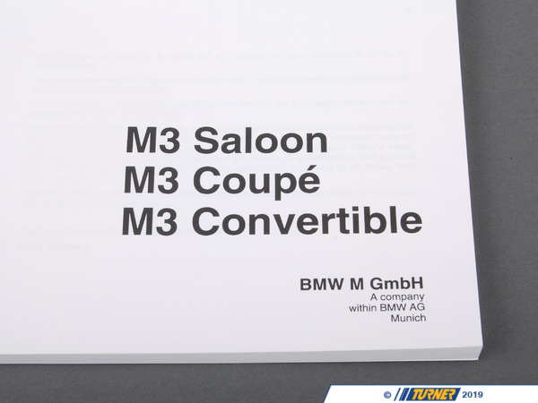 T#26773 - 01419788391 - Genuine BMW Owner's Handbook M3 E36/4/2/ - 01419788391 - Genuine BMW -