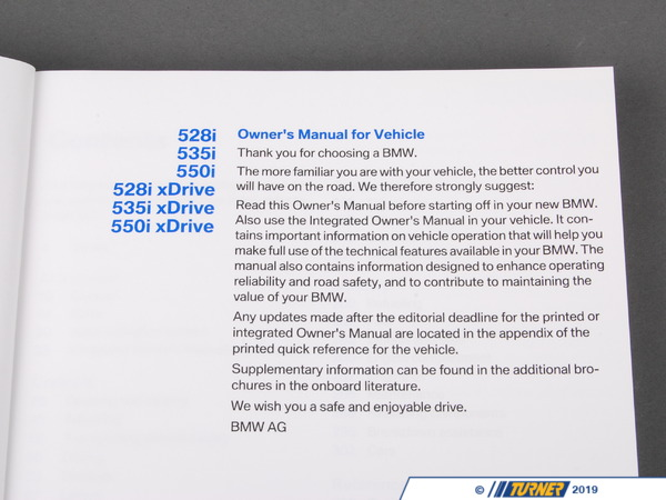 T#26236 - 01402607879 - Genuine BMW Owner's Manual F10 - 01402607879 - F10 - Genuine BMW -
