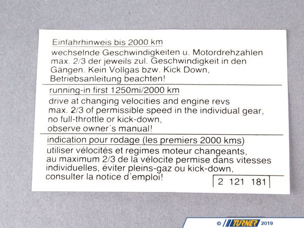 "T#80854 - 51142121181 - Genuine BMW Label ""Run-In Instruction"" - 51142121181 - E30,E36,E38 - Genuine BMW -"