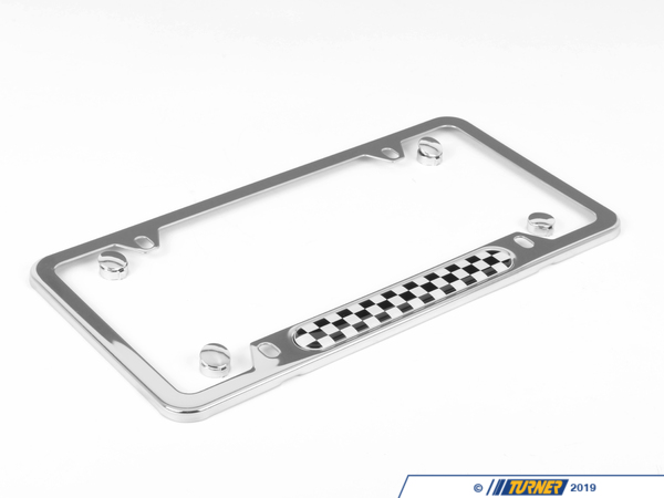 T#120089 - 51800406645 - Genuine MINI License Plate Frame Checkered Polis - 51800406645 - Genuine Mini -