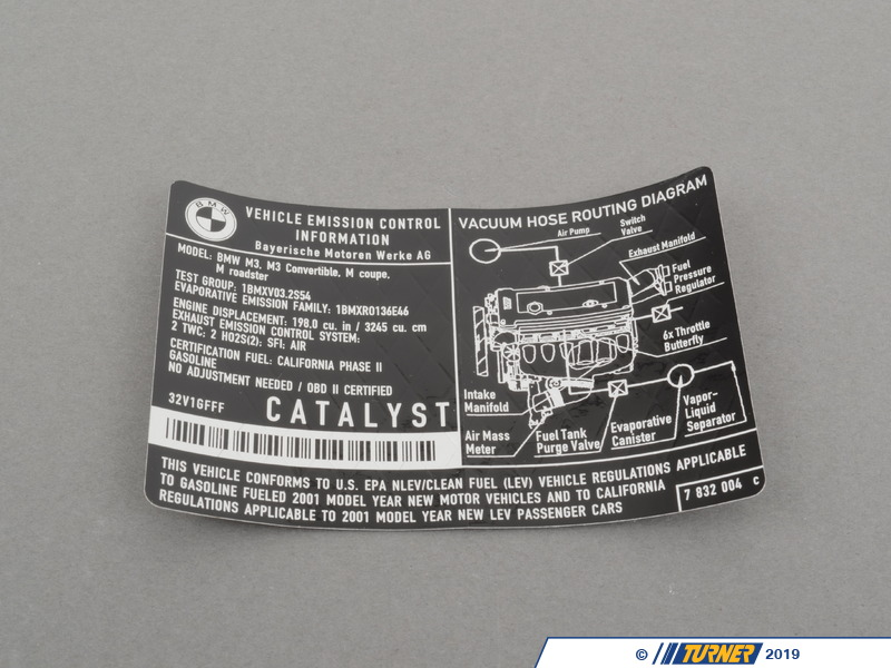 71227832004 Genuine Bmw Label Quot Exhaust Emission