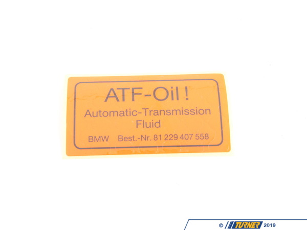 T#49809 - 23111228008 - Genuine BMW Stick-on Label, Transmission - 23111228008 - Genuine BMW -