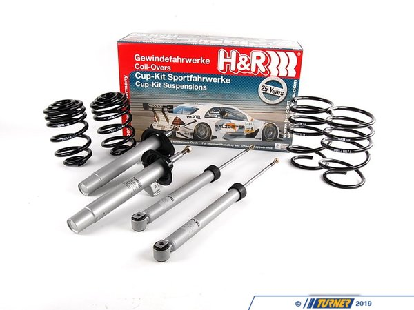"T#3639 - 31019-1 - E46 323i/325i/328i/330i/ci (non-sport) H&R Sport Cup Kit Suspension Package - Matching Shock & Spring PackageComparable to a H&R Super Sport or Race spring - aggressive upgrade over stock Vastly improved handling but with less ride comfortThis H&R Sport Cup Kit is for drivers who want that extra edge from a stiffer suspension but without the expense and complexity of coil overs. The E46 Sport Cup Kit is a more aggressive version of the Touring kit. The ride height lowers the center of gravity and roll center even more and the springs are stiffer for more control over body motions and weight transfer. The Sport Cup Kit lowers the ride height as much as 2.1"" in front and 1.7"" in the back. The springs are still progressive rate so the ride stays compliant on small bumps but quickly gets stiffer. Overall, they are about 50% stiffer than the stock original springs. Lowering amount will be less if replacing the factory sport suspension. If you want a very precise and firm suspension, and ride quality is secondary, the Sport Cup Kit is superior to the Touring or any other shock/spring package we offer. This package fits with the stock strut and shock mounts but front camber plates are recommended because of the increased front negative camber. This H&R Cup Kit is a tuned shock/spring package for the E46 coupe and sedan. H&R matches a set of springs to performance shocks for a perfectly setup and functioning suspension package. Instead of mixing and matching springs with shocks, H&R has tailored each shock for the specific model, taking into account spring rates, chassis setup, and suspension motions. Without the shocks and springs engineered together the suspension may have incorrect travel or be a mis-match for spring rate (under-dampened) or too stiff. This E46 Cup Kit addresses all of that. This item fits the following BMWs:1999-2005  E46 BMW 323i 323ci 325i 325ci 328i 328ci 330i 330ci with standard suspension - not for convertibles or wagons - H&R - BMW"