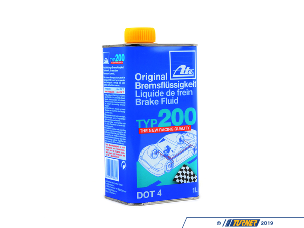 T#3815 - ATE200 - Ate Type 200 Racing Brake Fluid (1 liter) - The original and still our most popular high performance brake fluid. Ate Type 200 (and its cousin Super Blue) offer extremely high boiling points in a full liter container at an attractive price. Even though it's rated as a DOT4 fluid, the boiling points of Ate Type 200 exceeds DOT5 specs. Ate brake fluid makes an excellent street/track dual purpose brake fluid for almost all BMWs. Application note: BMW recommends low viscosity fluid for all new chassis introduced from the E60 chassis onwards, however, a high performance DOT4 fluid is still recommended for track use on these cars.Ate Typ 200 is an amber/gold color to meet DOT regulations. It is identical in every way to Ate Super Blue, which was removed from shelves because the blue dye was not DOT compliant.Click here for more information on the different types of brake fluid.Product   Dry Boiling Point   Wet Boiling Point   Viscosity   DOT RatingAte Type 200   280 C (536 F)*   198 C (389 F)*   normal   4Sold per liter (1,000mL). - ATE - BMW MINI