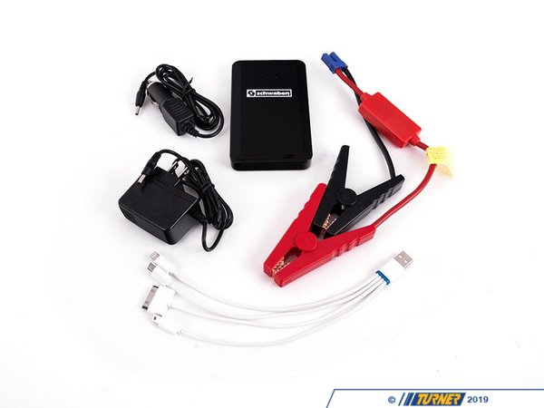 T#384505 - es2808520KT - Schwaben Micro Jump Start Kit - Whetheryou're going for a long drive or spending the day out at the track, this micro power plant can be very convenient. When using your phone to capture memories of your favorite cars your battery can quickly drain, the Micro Jump Start is there for a recharge. Accidently leave a light on in your car? No need to worry about finding another car and booster cables, the Micro Jump Start is a one man jump team.One of the smallest & lightest portable power supply on the market. This power pack can charge or power most of your devices with a 4 to 1 USB cable adapter. This small lightweight jump box is perfect to keep in your glove box.Features:Fast Charging Lithium batteryIntegrated LED with 3 modes, flashlight, flashing warning light and flashing SOSIncludes wall outlet charger and 12 volt accessory outlet charger for you car. Charge time varies with current battery stateof charge.Nylon zippered pouch4 state of charge indicator lightsOn/off switch with automatic power downIncludes Car Battery jump cables4 to 1 charging harness plugs into USB port on power pack and has 4 charge leads:MicroUSB, MiniUSB iPhone, 30-pin and iPhone Lighting Connector.Size of power pack unit is only 115x75x15mmTwo output ports, 5V-3A and 12 volt Jump start port.Input charging port 15V-1 AFull Charging time 3 hrs.Starting current 200A to peak current of 400A*If starter draw on vehicle is less then 200 AMP this should start your vehicle.*Caution:Do not reverse polarity on jumper leads*Do not leave jumper box attached to car battery for more than 30 seconds after car has started. This will result in jumper box overheating. - Schwaben - BMW MINI