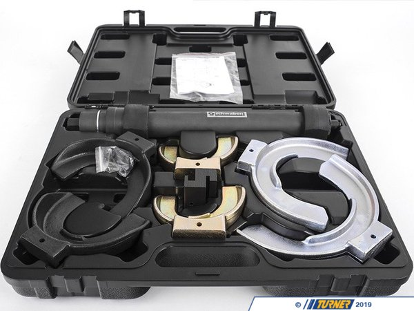 T#383404 - 013845sch01A - Schwaben Strut Spring Compressor Set - Professional Spring Compressor Kit will compress most styles of strut springs. This is a safe and efficient way to compress strut springs. This set is supplied with everything you need to get the job done like a pro. Each jaw has safety lips to eliminate slip and is designed to fit the pitch of the spring to ensure maximum surface contact between the jaws and the spring, thus eliminating the risk of the compressor slipping around the spring.The spindle is driven by a 21mm hex nut and is not designed to be used with a impact gun. Hand turn the nut with a wrench or hand ratchet.Features:Interchangeable jaws are easily changed to correct size for the applicationCompressor Body Shaft80-115 mm Yokes110-150mm Yokes140-195mm Yokesconical spring adapterBlow molded caseMaximum jaw opening is 300mm - Schwaben - BMW MINI