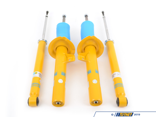T#384737 - 24-143998KT1 - Bilstein B6 Performance Shocks & Struts Kit -- E46 M3 2001-2006 - Bilstein strut/shock package for stock springs. Set includes 2 front Bilstein B6 Performance shocks and 2 rear Bilstein B6 Performance shocks. Includes top nuts and rear lower shock washers. The stock rear dust boots are re-used. The Bilstein B6 Performance Shock is designed for use with stock springs. These shocks provide improved handling and stability without sacrificing ride comfort.This Bilstein B6 Performanceshock package fits the following BMWs:2001-2006E46M3, M3 Convertible - Bilstein - BMW