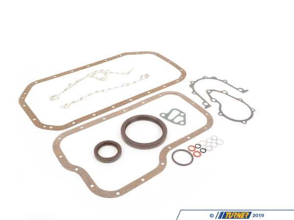 T#285 - 11111316993 - Bottom-End Gasket Set - E30 M3  - This set of OEM gaskets covers everything you might need when re-sealing the bottom-end of the E30 M3's S14 engine. Using a complete gasket set will save you time and money if you have the engine out of the car and are performing any major repairs with the oil pan and timing covers off the motor. This is the correct S14 bottom-end gasket set, not a re-packaged M10 kit.This set of gaskets is a both a time and money saver. It includes all of the commonly replaced gaskets, seals, and o-rings when performing this overhaul. Having these on hand instead of chasing them down at the last minute will save you time, money, and frustration. With this area of the engine apart you're going to want or need to replace these items anyway to ensure it's free of fluid and vacuum leaks. This is especially important because some states have very strict emissions regulations and vacuum and oil leaks can lead to failed inspections tests. On newer cars this can also create issues in the on-board diagnostics system. Even if you're not pulling the head this set includes so many valuable parts you'll want to keep this on hand to use for spares.With more than 100 years in the industry, Elring is one of the oldest names in the European autoparts segment. Delivering OE-quality you can rest assured the job will be done right the first time.Complete Parts List(click to expand)BMW p/nQtyDescription071199063282large timing rail lower seal, 10x2071199631303engine block plug gasket ring, A12x15.5071199631511oil drain plug gasket ring, A12x17071199632002block coolant drain gasket ring, A14x18111317279741upper oil pan gasket111317279831lower oil pan gasket111413083421front crankshaft shaft seal, 44x60x10111413126161timing cover gasket, left111413126171timing cover gasket, right111417279751rear main seal cover gasket111422495331rear main seal, 90x110x12114112504212oil pump hose o-ring114213126071oil filter housing gasket115113096921water pump profile gasket126112771291oil sender gasket ring, 40x4This item fits the following BMWs:1987-1992  E30 BMW M3 2.3L or 2.5L conversion - Elring - BMW