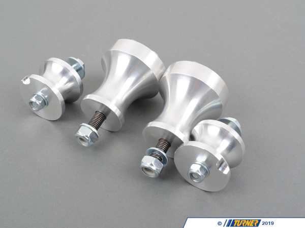 T#112 - TDR9980001 - E36/E46/Z3/Z4 Turner Solid Aluminum Motor and Transmission Mount Kit - If allowed in the rules these solid aluminum engine and transmission mounts offer many advantages over a urethane or Delrin mounts. It's no wonder that these mounts have found their way into the top BMW racers in the country. We originally developed these mounts for E36 and E46 World Challenge racing but they also work perfect in BMW Modified and SCCA club racing and SpecE46 (SE46). These are machined from solid aluminum and have zero deflection. The engine torque will cause a rubber or urethane mount to flex or deflect. The stiffer the material the less movement there is and the more torque is passed through the driveline (instead of being wasted winding up the mount). At the transmission end the flex-free solid mounts will give smoother, crisper shifts since the transmission is no longer dancing on the pliable mount. This puts the shift linkages in better consistent alignment. And unlike rubber or urethane the aluminum has zero wear and is not affected by leaking oil or other fluids so this is likely the last set of motor and transmission mounts you will ever need. We have designed these mounts so the engine is 5mm lower and the transmission is 1mm lower than the factory mounts. This helps lower the center of gravity for better balance and handling. We very strongly recommend using the transmission and engine mounts together as a complete kit. Mixing a rubber mount with a metal mount will cause undue stress on the mouting points and will lead to a failure. We never advise using a solid mount unless a corresponding solid mount is also used. This kit fits the E36, E46, Z3, and Z4 6 cylinder models listed below, including M3 models.These are a no-compromise design for all-out racing use. Full solid aluminum mounts should not be used on street-driven cars. Because there is no material to absorb vibration these will be quite harsh for regular street use (track cars don't care about noise).Subframe reinforcement kits are very strongly recommended to go along with these solid motor mounts to reduce the risk of damage to the subframe. The motor mount section of the subframe should be reinforced to prevent stress and failure of the subframe.This item fits the following BMWs:1992-1999  E36 BMW 323is 323ic 325i 325is 325ic 328i 328is 328ic M31999-2006  E46 BMW 323i 323ci 325i 325ci 328i 328ci 330i 330ci M32001-2006  SpecE46 BMW 330i 330ci1997-2002  Z3 BMW Z3 2.3 Z3 2.5i Z3 2.8 Z3 3.0i M Roadster M Coupe2003-2005  E85 BMW Z4 2.5i Z4 3.0i2006-2008  E85 BMW Z4 M Roadster M Coupe - Turner Motorsport - BMW