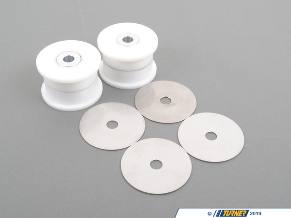 T#3871 - 33322228153D - Rear Trailing Arm Bushings (RTAB) - Delrin Race - E36, E46, Z4 (Pair) - These Rear Trailing Arm Bushings (RTABs) are designed for specific racing classes where more solid or bearing-style bushings are not allowed. Delrin is a very hard plastic material with almost zero deflection and also lasts a lot longer than using any type of rubber or urethane bushing. Since there is less wasted motion with a solid bushing, the suspension can react faster and give you more feedback. The rear alignment stays in check during hard cornering, braking, and acceleration. You will corner faster and be able to get the power down earlier at corner exit with increased confidence.Delrin is a near solid bushing that does not absorb or dampen vibration or impact harshness. Therefore, we only recommend these for track-spec cars or street cars and drivers with more tolerance for noise, vibration, and harshness.These are a direct replacement for the factory bushings. Special installation tools are required but Delrin does not need long-term care or maintenance. Price is for the pair.This item fits the following BMWs:1992-1998  E36 BMW 318i 318is 318ic 323is 323ic 325i 325is 325ic 328i 328is 328ic M31999-2005  E46 BMW 323i 323ci 325i 325ci 325xi 328i 328ci 330i 330ci 330xi M32001-2006  SpecE46 BMW 330i 330ci2003-2008  Z4 BMW Z4 2.5i Z4 3.0i Z4 3.0si Z4 M Roadster M Coupe - TC Kline Racing - BMW
