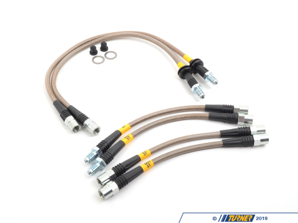 T#1548 - PLB533106D-E28 - E28 5 Series (incl M5) Stainless Steel Brake Line Set - DOT Approved - These braided stainless brake steel lines improve the performance and safety of your BMW's braking system. Tthese braided stainless brake steel lines improve the performance and safety of your BMW's braking system. They are DOT approved, coated to protect the braided stainless steel from abrasion or road-related damage and offer tremendous quality at a phenomenal price. Stoptech Stainless Steel Braided Brake Lines provide a quicker, firmer, more consistent pedal response by maintaining consistent brake pressure. Additionally, stainless steel lines provide precision brake modulation, especially during threshold braking. The improvement in pedal feel is more dramatic on older vehicles where the factory rubber line may have softened and swelled due to age.StopTech brake lines consist of a PTFE (commonly referred to as Teflon) inner line that carries the brake fluid, which is then covered with a layer of stainless steel woven braid. The PTFE  tube is very resistant to expansion under pressure and will not degrade from exposure to brake fluid.The braided stainless steel provides support for the PTFE and the weave is extremely durable against incidental impact and abrasion. Next the stainless braided hose is coated with a clear abrasion resistant PVC cover for maximum protection against chaffing and strain relief devices reinforce end fittings.These lines fit all 1982-1988 BMW 5 Series (E28) and M5. These may be used on all 533i, 528e, 535i, 535is and M5 that are a model year 1982, 1983, 1984, 1985, 1986, 1987, or 1988. . - Turner Motorsport - BMW