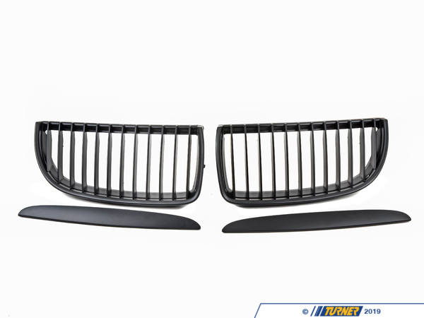 T#1507 - BME-1601-5000 - Black Center Grills - E90 325i/xi 328i/xi 330i/xi 335i/xi 2006-2008 (Pre-facelift) - Turner Motorsport - BMW