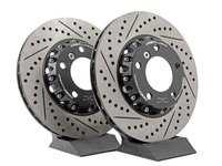 E46 323/325, Z3 3.0, Z4 3.0 ECS Front Cross-Drilled & Slotted 2-Piece Brake Rotors - Pair (300x22)