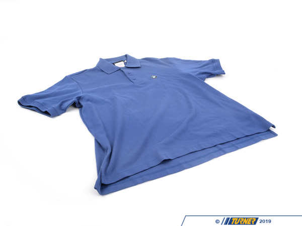 T#161693 - 80140439553 - Genuine BMW Mens S/s Pima Polo, Blue-l - 80140439553 - Genuine BMW -