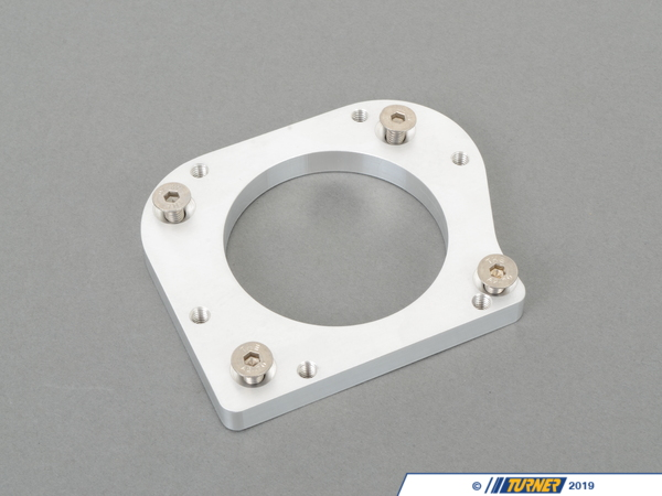 T#4306 - TEN9990851 - Adapter Plate to Mount M50/S50B30 US Throttle Body or M52TU Dive-By-Wire Throttle Body to M54B30 Intake Manifold - This adapter is designed to mount a M50/S50B30 US mechanically operated or M52TU Dive-By-Wire Throttle Body to a M54B30 Intake Manifold. There are several configurations where you could use this adapter but this was originally developed for our racecars that used stand alone ECUs (MoTeC or Bosch Motorsport).Configuration 1 Adapter Plate to Mount M50/S50B30 US Throttle Body to M54B30 Intake ManifoldIt allows you to use a mechanically operated throttle body instead of the drive by wire throttle body. The advantage of this is that you can easily use aftermarket engine management systems without extra wiring and programming.Configuration 2Adapter Plate to Mount M52TU Dive-By-Wire Throttle Body to M54B30 Intake ManifoldIt allows you to use a M54B30 intake manifold with your M52TU engine, throttle body, and stock ECU. The advantage is increased air flow from the M54B30 intake manifold over the M52TU intake manifold. Note: the M52TU throttle body will need to be modified to work in the application. In all cases, the original idle control valve was deleted and the port in the intake manifold was plugged. If your new ECU system still relies on the idle control valve this adapter may not work as intended. The plate mounts flush to the manifold with 4 flat head M6 Allen bolts (included). The throttle body mounts to the adapter with 4 M6 hex head bolts (not included, original mounting bolts can be re-used).Parts list for kit: 1 - Plate4  6mm Flat Head Bolt Installation Instructions - Turner Motorsport - BMW
