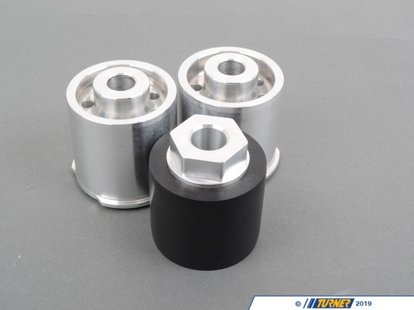 T#2955 - TDR9080321 - Rear Differential Mounts - Turner Race Solid Delrin/Aluminum - E9X M3 - TMS E90/E92 M3 solid differential mounts are designed around many racing regulations. Replacing your differentials rubber mounts with this kit will result in a snappier feel when cornering and better suspension performance. You save money by never having to replace the stock rubber mounts and hardware that fail due to old age and fatigue. These bushings are CNC machined in the USA and made with high-grade materials.This item fits the following BMWs:2008+  E90 BMW M3 sedan2008+  E92 BMW M3 Coupe2008+  E93 BMW M3 Convertible2011  E82 BMW 1M Coupe - Turner Motorsport - BMW