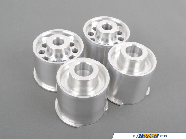 T#1452 - TDR9080SS3 - Rear Subframe Bushings/Mount Set - Turner Solid Aluminum - E82, E9X - A BMWs sub-frame is the heart of the suspension - as the subframe twists and shifts under load all of the suspension mounting points also move. The rear suspension feels loose and lacks precision.As rubber or hydroelastic bushings wear the bushing deflection gets worse. If you have a highly tuned 335i/xi you're putting even more strain on weak bushings.The solution is a stiffer and more durable material. Even BMW has moved to solid mounts on the F10 M5 and F8X M3/M4. These fully solid E82/E90/E92 aluminum mounts have zero deflection- the subframe does not move at all. The rest of the suspension can work as designed and maintain the proper alignment and motion ratios. The driver will notice the difference as the car is more stable and the handling is more precise.Although we designed these for use in our racecars, they can work on the street so long as the driver can tolerate someadditional noise, vibration, and harshness.These mounts are CNC machined in the USA and made with high-grade aluminum. The set is for all four subframe mounts.These solidrear sub frame mounts fit:2008-2012E82 BMW128i 135i2006-2011E90 BMW325i 328i 330i 335d 335i - Sedan2006-2011E91 BMW325i 328i - Wagon2007-2012E92 BMW328i 335i 335is - Coupe2007-2012E93 BMW328i 335i - Convertible - Turner Motorsport - BMW