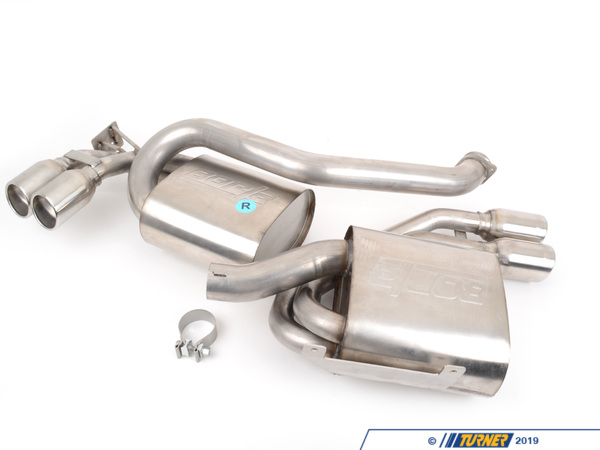 T#4187 - 140034 - Borla Sport Exhaust Rear Mufflers with Round Tips - E46 M3 - Section: rear mufflersInstallation: bolt-onTip Style: quad round Borla angle cutPower Gain: +12hpThese Borla mufflers will give your M3 a bit more growl and presence. These are stainless steel, high-flow mufflers that bolt on to the stock center section (or Borla midpipe). The stock M3 muffler is very large and softens the S54's exhaust note quite a bit. The Borla mufflers are much smaller and lighter with much-improved flow that increases horsepower and performance. Borla compared their mufflers with a common aftermarket brand and found their's flowed 10% better (click here for Borla comparison). The Borla system saves over 20lbs from the stock muffler.Every Borla is made with 304 stainless steel for the internals and muffler body. Unlike other systems that can use coated aluminum, mild steel, or 409 stainless, the Borla uses true 304 stainless on the inside as well as the outside. This prevents the muffler from rusting and deteriorating from the inside out. Borla guarantees every muffler with a 1,000,000 mile warranty. Turner Motorsport has been the leading Borla dealer for BMW exhausts since we sold our first system in 1996, including using Borla Exhausts on every Turner BMW racecar.Applications:2001-2006 E46 M3 - Borla - BMW