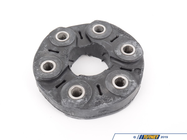 T#4147 - 26111209168 - Flex Disc - Guibo - E12, E23, E24, E28, E30, E32 735i, E34 (except M5), E36 328i, E39 528i, E46, Z3 - Thisreplacement flex disc (aka: the guibo) is a vibration dampener mounted on the back of the transmission which connects to the driveshaft. When it has worn, it produces a terrible vibration throughout the car. It's especially noticeable at low speeds and when starting from a standstill. Oil leaking from the back of the transmission will significantly reduce its life.Applications:E12, E23, E24, E28, E30,E32 735i, E34 (except M5) E36 328i, E39 528i, E46, Z3 - Meyle -
