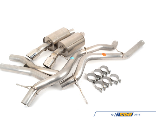 T#4176 - 140276 - E90 E92 335i/335xi Borla S-Type Aggressive Sport Exhaust - Cat-Back Rear Section, Mufflers - Section: cat-back x-pipe, rear mufflersInstallation: slip-onTip Style: dual round 80mm Borla angle cutPower Gain: +7hpThe Borla 'Aggressive' system for the E90/E92 335i is a cat-back system comprised of no resonators, x-pipe section, and dual rear mufflers. This system was Borla's response to a demand for greater volume for the 335's twin-turbo N54 motor. The turbos make the car quieter so having a performance exhaust will allow you to finally hear the engine. Borla has tuned this exhaust to give more of a throaty burble, especially at low RPM while maintaining acceptable sound levels for daily street use. This Borla system is perfect if you want to hear the exhaust but not annoy the people in the car next to you. And this is a true cat-back system so no catalytic converters or emissions equipment is affecting by installing this. And with a free-flowing design this will allow a modest bump in power output. The Borla system is also a lot lighter than the factory system; less weight = more performance!Every Borla is made with 304 stainless steel for the internals and muffler body. Unlike other systems that can use coated aluminum, mild steel, or 409 stainless, the Borla uses true 304 stainless on the inside as well as the outside. This prevents the muffler from rusting and deteriorating from the inside out. Borla guarantees every muffler with a 1,000,000 mile warranty. Turner Motorsport has been the leading Borla dealer for BMW exhausts since we sold our first system in 1996, including using Borla Exhausts on every Turner BMW racecar.This item fits the following BMWs:2006-2010  E90 BMW 335i 335xi 335i xDrive - Sedan2007-2010  E92 BMW 335i 335is 335xi 335i xDrive - Coupe - Borla - BMW