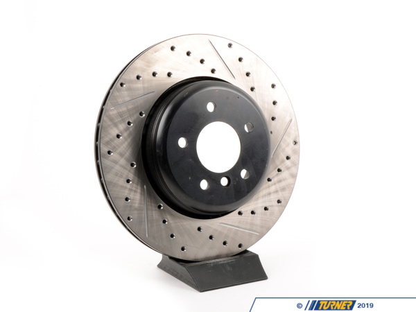 T#300209 - 127.34072L 827 - E60 535i, E60 545/550, E63/E64 645/650 LEFT REAR CROSS-DRILLED BRAKE ROTOR (345x24) - Centric -