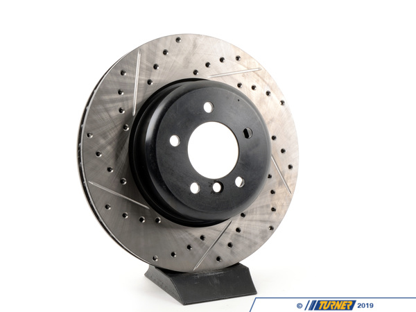 T#300208 - 127.34071R 824 - E60 535i, E60 545i/550i, E63/E64 645/650  RIGHT FRONT CROSS-DRILLED /SLOTTED BRAKE ROTOR - Centric -