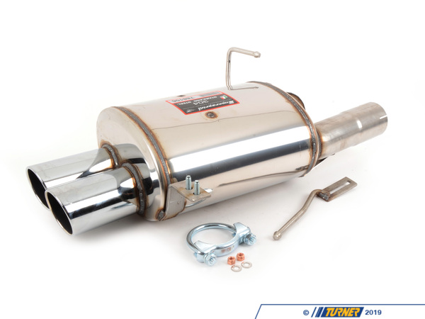 T#3575 - 788106 - E85 Z4 2.5/3.0 03-05 Supersprint Performance Muffler - Free ground shipping!Supersprint's sport rear muffler allows more of that engine note to be heard. The stock muffler may be too quiet for some and it's a shame to over-muffle the sound of BMW's engine. The Supersprint muffler is a direct replacement for the stock with all of the original gaskets and hangers. It's a free-flow muffler which helps to release horsepower and torque while also raising the volume and making the exhaust note throatier and with more of a burble than stock.Supersprint exhaust is widely recognized as the leader in complete exhaust system upgrades - extremely high quality, well designed for optimal flow, and amazing sound. Even at a premium price Supersprint is an unbeatable exhaust system because every aspect is done to such a high level. A Supersprint exhaust rewards you with a terrific sound, long lasting construction and excellent fitment. The Supersprint sound is very 'European' which fits the sporting sophistication of BMWs perfectly. Most systems are also modular - sections can be added or removed to custom tailor the exhaust sound to your preferance. Aside from 'Race' systems, their mufflers meet European noise laws so you get a refined and tuned sound without being excessively loud. Most Supersprint systems are built with larger diameter piping to improve exhaust flow which helps the engine do less work and make more horsepower! Supersprint exhausts generally run at a premium over other systems but no other system on the market can match their quality, performance, or reputation!section:rear mufflerconnects to:Supersprint section 2 straight pipe (required)tip style:80mm dual roundmaterial:T304 stainless steelThis item fits the following BMWs:2003-2005  E85 BMW Z4 2.5i Z4 3.0i - Supersprint - BMW