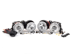 Depo Chrome Projector Headlight Set With Angel eyes - E30 BMW