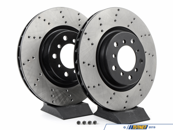 T#1390 - TMS1390 - Cross-Drilled Brake Rotors - Front - E46 M3 (pair) - StopTech - BMW