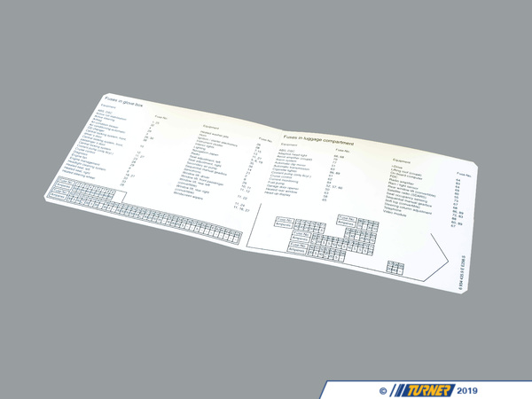 T#157025 - 71236934435 - Genuine BMW Map, Fuse Grouping, English - 71236934435 - E63 - Genuine BMW -