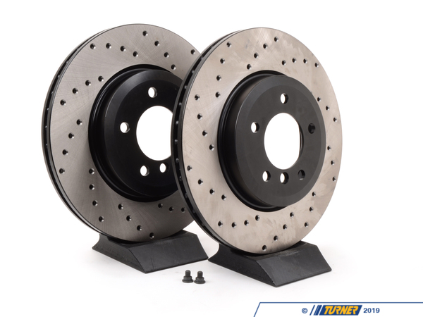 T#4193 - 34101166071CD - Cross-Drilled Brake Rotors - Front - E46 330i, Z4 3.0Si (pair) - StopTech - BMW