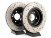 T#402 - 34212229379CD - Cross-Drilled Brake Rotors - Rear - E39 M5 & E46 M3 (pair) - REAR E46 M3.  Price is for the pair (includes one left, and one right cross drilled rear brake disc.)This item fits the following BMWs:2001-2006  E46 BMW M31999-2003  E39 BMW M5 - StopTech - BMW