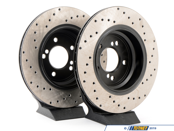 T#402 - 34212229379CD - Cross-Drilled Brake Rotors - Rear - E39 M5 & E46 M3 (pair) - StopTech - BMW