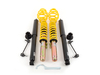 "T#210936 - 90222 - ST Suspension Coilover Kit - E46 323i 325i 328i 330i - ST Suspensions - German-Engineered Coil Overs at an Affordable Price.ST Suspensions has partnered with KW Suspensions in Germany to offer an affordable German-engineered coilover kit. The ST coil overs are based on the entry-level KW Variant 1 but with zinc-plated shock bodies in place of the more expensive stainless steel. Each ST coilover has dampers perfectly tuned for the springs included with the kit. It's a matched shock and spring package with the added feature of adjustable ride height. This delivers a comfortable but sporty and controlled ride without being jarring or uncomfortable. The engineering and performance is unbeatable at this price! The ST coilover kit is packed with features found on more expensive fully-adjustable coil overs -Pre-set fixed damping optimized for a blend of ride comfort and handling with less bodyrollZinc-plated steel strut/shock bodiesComposite-coated spring perches reduce noise and vibrationIndividually height-adjustableTUV approved lowering range and operationExpert engineering and design for ease-of-use and long durabilityThis is the ideal coil over kit for an enthusiast owner who does not plan on tracking or autocrossing the car and just wants a lower, more aggressive stance and better handling. ST has set the shock damping rates to be an excellent balance for a smooth yet taut ride, and to resist bodyroll motions for better handling. If you want a sportier ride and better handling than stock ST Coil Overs are an excellent choice.LoweringFront:      1.2"" to 2.8""Rear:      1.2"" to 2.0""This item fits the following BMWs:1999-2005  E46 BMW 323i 323ci 325i 325ci 328i 328ci 330i 330ci - Suspension Techniques - BMW"